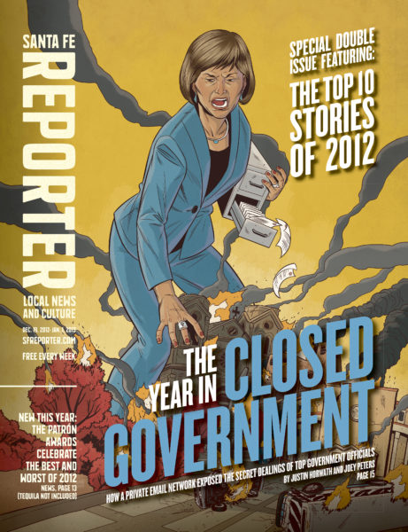 A December 2012 cover from the Santa Fe Reporter, depicting New Mexico Governor Susana Martinez. Illustration by John Lang.